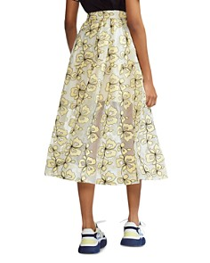 Maje - Jizia Floral-Embroidered Midi Skirt