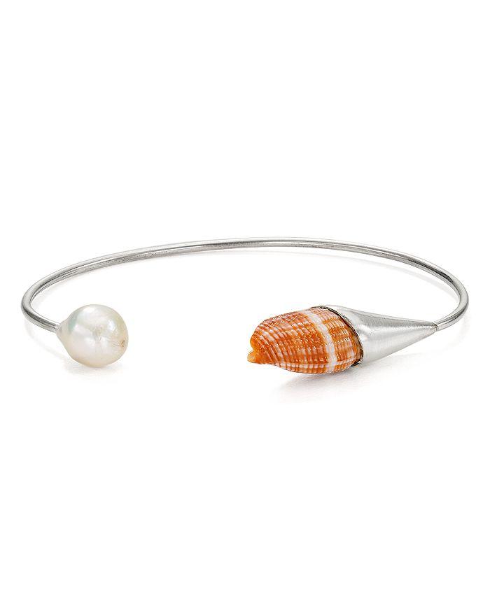 Chan Luu - Cultured Freshwater Pearl & Shell Thin Cuff Bracelet
