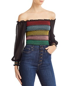 Alice and Olivia - Avita Embroidered Smocked Cropped Top