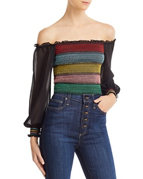 f05eff2235 Alice and Olivia - Avita Embroidered Smocked Cropped Top ...