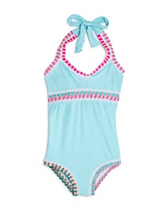 Platinum inspired by Solange Ferrarini - Girls' Rainbow-Embroidered One-Piece Swimsuit, Little Kid, Big Kid - 100% Exclusive
