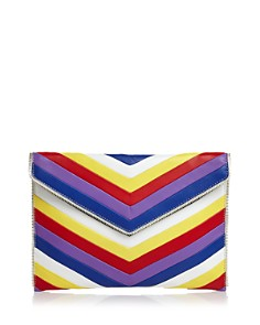 Rebecca Minkoff - Leo Chevron Rainbow Quilted Leather Clutch