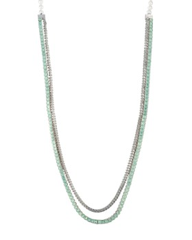 Carolee - Simulated Pearl, Stone & Chain Double Strand Necklace, 42""