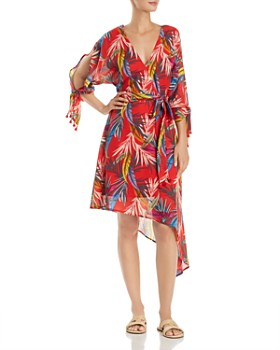 Red Carter - Palm-Print Wrap Dress