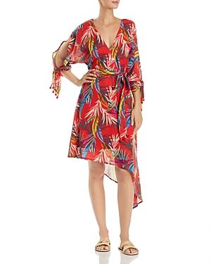 Red Carter Dresses PALM-PRINT WRAP DRESS