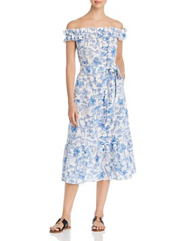 abe331a842e3 Tory Burch - Off-the-Shoulder Printed Dress ...