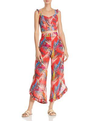 High-Waist Palm-Print Pants