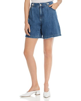 No Frills by Mother of Pearl - Faux Pearl Button Denim Shorts