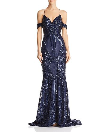 Bariano - Karlie Cold-Shoulder Sequined Gown