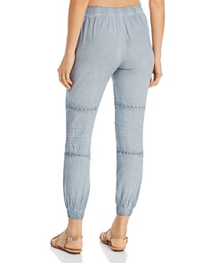 Surf Gypsy - Washed Crochet & Pleated Swim Cover-Up Jogger Pants