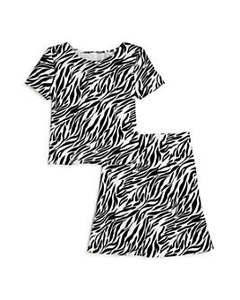 AQUA - Girls' Zebra Print Scuba Top & Skirt, Big Kid - 100% Exclusive