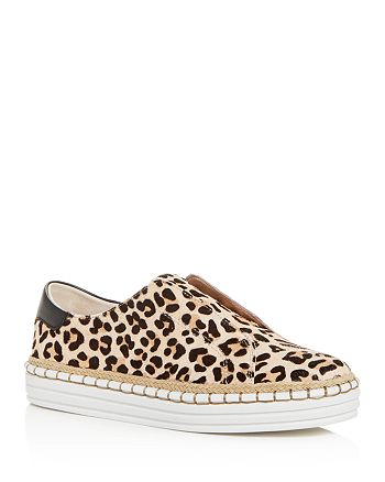 J/Slides - Women's Karla Leopard-Print Calf Hair Slip-On Sneakers