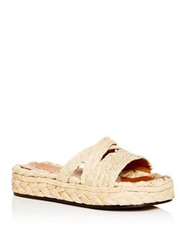Clergerie - Women's Idalie Raffia Platform Slide Sandals