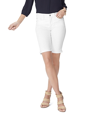 Nydj Shorts PETITES BIELLA CUFFED DENIM BERMUDA SHORTS IN OPTIC WHITE