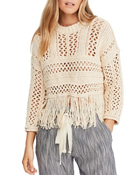 Free People - Higher Love Fringed Crochet Sweater