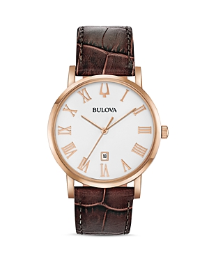 Bulova Watches AMERICAN CLIPPER BROWN LEATHER STRAP WATCH, 40MM
