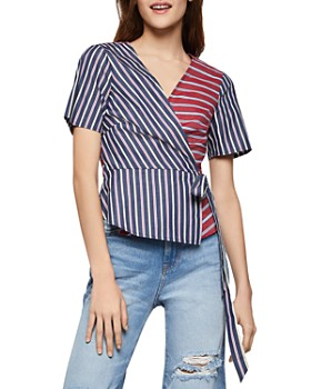 9c1b29ea7f03 BCBGENERATION - Mixed Stripe Surplice Top ...