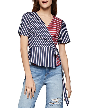 BCBGeneration Mixed Stripe Crossover Top