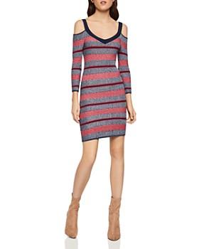 be1f59ad8a7 BCBGENERATION - Striped Cold-Shoulder Dress ...