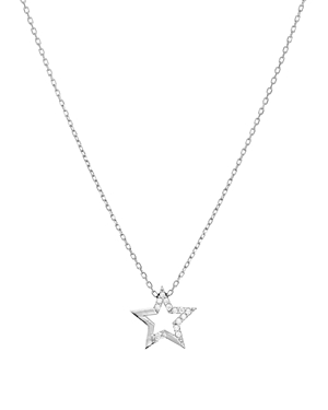 Aqua Embellished Star Pendant Necklace in 14K Gold-Plated Sterling Silver or Sterling Silver, 16 - 1