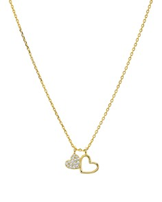 "AQUA - Double Heart Pendant Necklace in 14K Gold-Plated Sterling Silver or Sterling Silver, 16"" - 100% Exclusive"