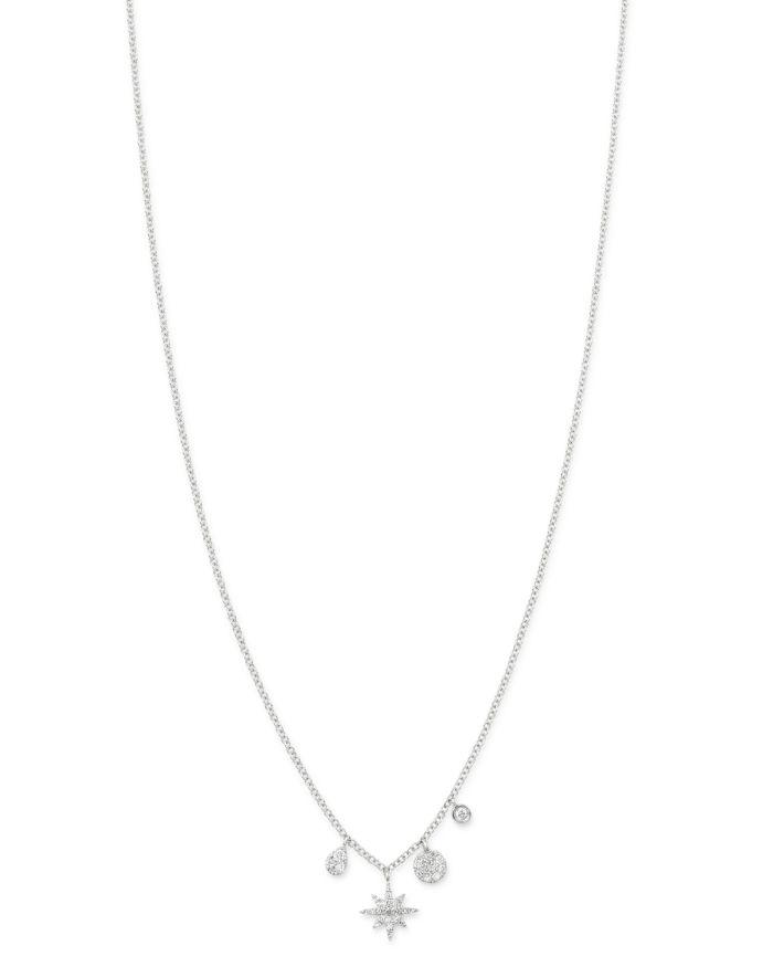 "Meira T 14K White Gold Diamond Starburst Necklace, 18""    Bloomingdale's"