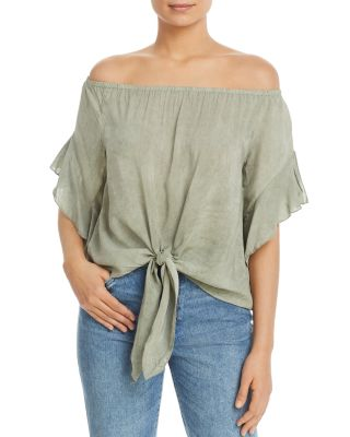 Off The Shoulder Tie Front Top by Elan