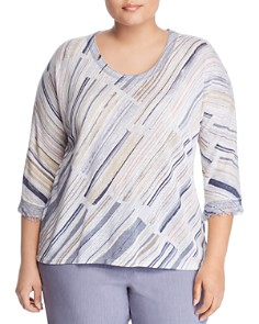 NIC and ZOE Plus - Water Stroke Striped Top
