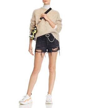 rag & bone/JEAN - Maya High-Rise Distressed Denim Shorts in Raven