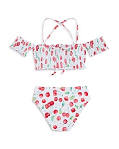 PilyQ - Cherries High Waist Two-Piece Swimsuit - Little Kid, Big Kid