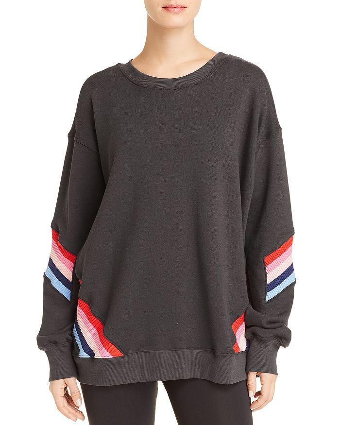 Spiritual Gangster - Striped-Inset Graphic Sweatshirt