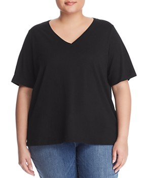 caa382795e Eileen Fisher Plus - Organic Cotton V-Neck Tee ...