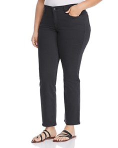 NYDJ Plus - Marilyn Sateen Straight Leg Jeans in Black