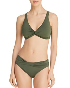 Tommy Bahama - Pearl Underwire Twist-Front Bikini Top & Pearl Shirred High-Waist Bikini Bottom