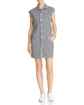 Current/Elliott - Striped Button-Front Denim Dress