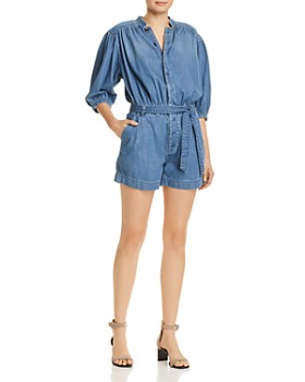FRAME - Cali Button-Front Chambray Romper