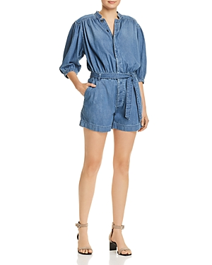 Frame Tops CALI BUTTON-FRONT CHAMBRAY ROMPER