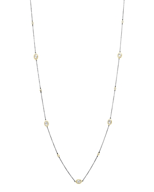 Freida Rothman Raindrop Station Necklace in 14K Gold-Plated & Rhodium-Plated Sterling Silver, 36