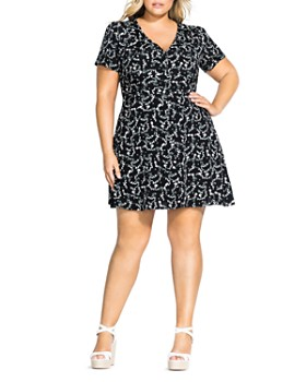 16e3249655bdfe City Chic Plus - Button-Front Floral-Print Dress ...