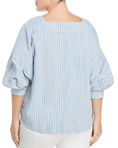 Lucky Brand Plus - Pinstriped Blouson Sleeve Top