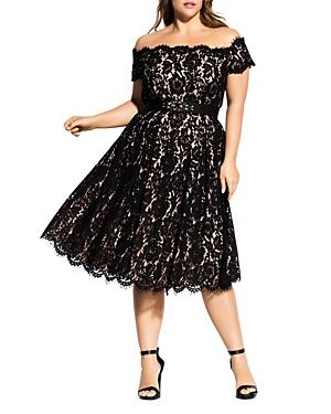 Vintage Dresses Australia- 20s, 30s, 40s, 50s, 60s, 70s City Chic Plus Off-the-Shoulder Lace Dress AUD 264.15 AT vintagedancer.com