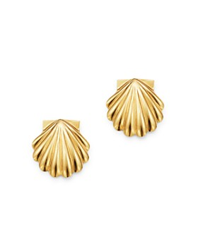 Moon & Meadow - Shell Stud Earrings in 14K Yellow Gold - 100% Exclusive