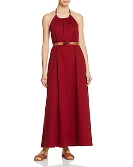 Max Mara - Accaio High Neck Belted Maxi Dress Swim Cover-Up