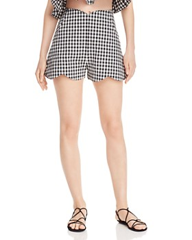 Paper London - Peche Gingham Scalloped Shorts