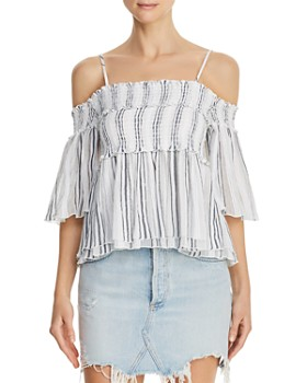 65cbee3f789af0 ATM Anthony Thomas Melillo - Striped Cold-Shoulder Top ...
