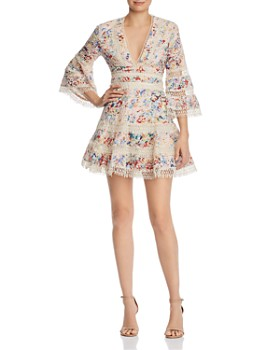 AQUA - Floral Eyelet & Lace Dress - 100% Exclusive