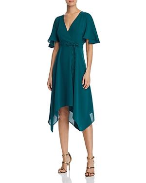 Vintage Dresses Australia- 20s, 30s, 40s, 50s, 60s, 70s Adrianna Papell Gauzy Faux-Wrap Dress AUD 187.95 AT vintagedancer.com
