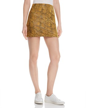 ed3cfcbec8 Honey Punch - Snake-Print Faux Suede Skirt ...