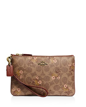 COACH - Small Signature Canvas Floral Bow Print Wristlet