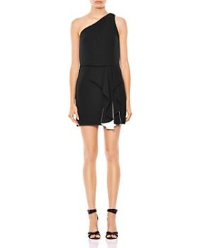 7151f67ae8e HALSTON HERITAGE - One-Shoulder Color-Block Ruffled Dress ...